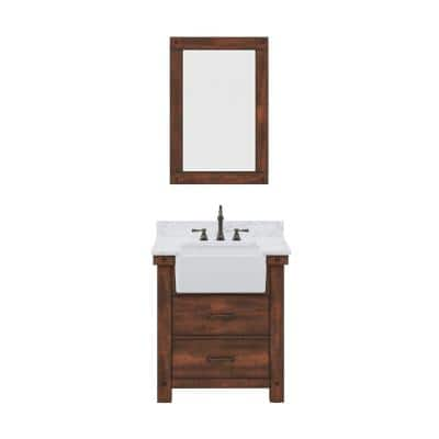 Paisley 31 in. W x 22 in. D Vanity in Rustic Sienna with Marble Vanity Top in White with White Basin and Mirror
