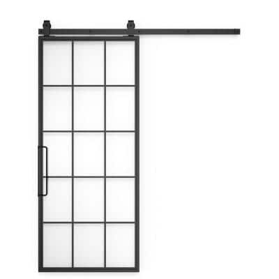 42 in x 84 in Mountain French Steel and Clear Full Lite Glass Sliding Barn Door with Hardware Kit and Right Hand Pull