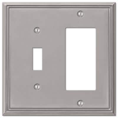 Rhodes 2 Gang 1-Toggle and 1-Rocker Metal Wall Plate - Brushed Nickel