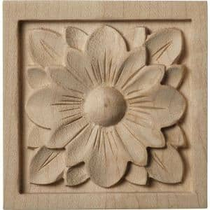 5/8 in. x 3 in. x 3 in. Unfinished Wood Cherry Small Dogwood Flower Rosette