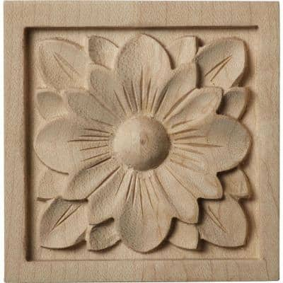 5/8 in. x 3 in. x 3 in. Unfinished Wood Maple Small Dogwood Flower Rosette
