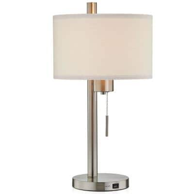23 in. Brushed Nickel Modern USB Table Lamp with White Linen Shade, 9.5-Watt LED Bulb Included