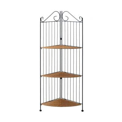Beverly 43.3 in. Meta and Wicker Brown 3-Tier Stand