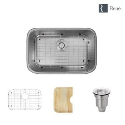Undermount Stainless Steel 27 in. Single Bowl Kitchen Sink Kit