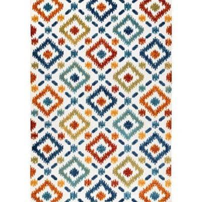 Malea Bohemian Hatched Trellis Multi 8 ft. Indoor/Outdoor Square Rug