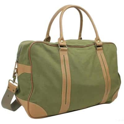 21 in. XL Large Classic Canvas with Full Grain Leather Travel Duffel Bag