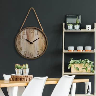 Distressed Brown Wood Grain Rope Wall Clock