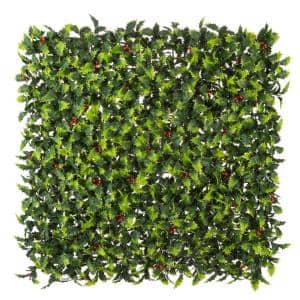 20 in. x 20 in. Holly Mistletoe Artificial Foliage Panel (4-Pack)