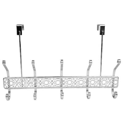Chrome Plated Steel Over the Door 5-Hook Hanging Rack