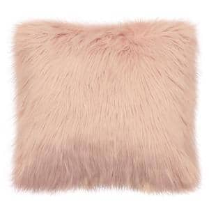 Faux Fur Sheepskin Contemporary Blush 22 in. x 22 in. Plush Shag Decorative Throw Pillow