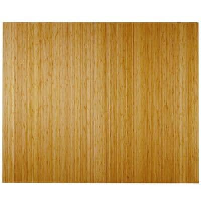 Deluxe Natural Light Brown 48 in. x 60 in. Bamboo Roll-Up Office Chair Mat without Lip