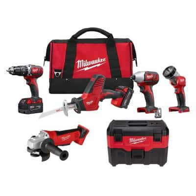M18 18-Volt Lithium-Ion Cordless Combo Tool Kit (4-Tool) with Wet/Dry Vacuum and Grinder