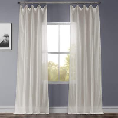 Gardenia Faux Linen Rod Pocket Sheer Curtain - 50 in. W x 96 in. L