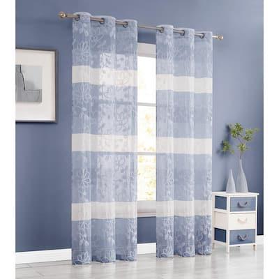 "Caroline 76"" x 84"" Embroidered Window Curtain in Blue"
