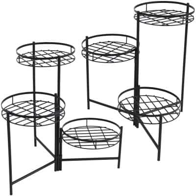 22 in. Black Iron 3-Tiered Plant Stand (2-Pack)