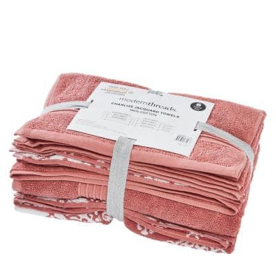 6 Yarn Dyed Jacquard/Solid towel set Charlize Clay