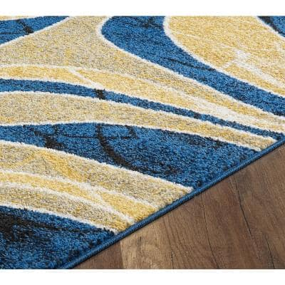 Chanel Yellow Graphic 2' x 3' Scatter Area Rug