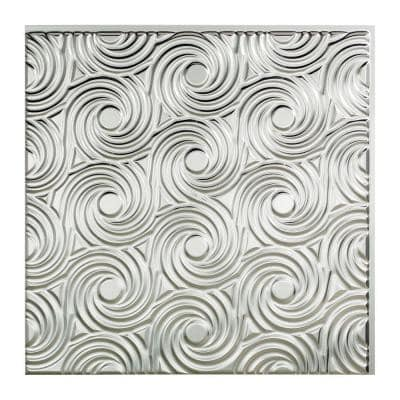 Cyclone 2 ft. x 2 ft. Glue Up Vinyl Ceiling Tile in Brushed Aluminum (20 sq. ft.)