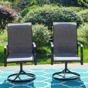Black Swivel Padded Textilene Metal Outdoor Dining Chair with Wave Arms (2-Pack)