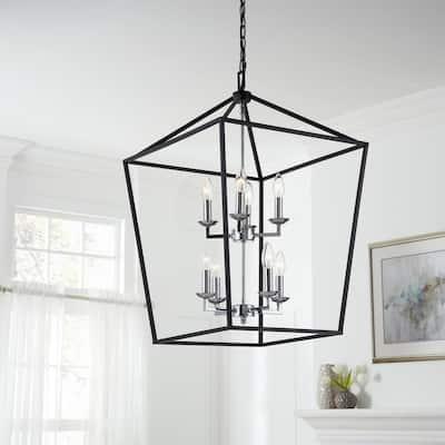 Weyburn 8-Light Black and Polished Chrome Caged Chandelier