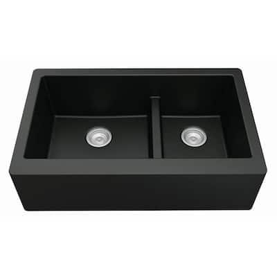 Farmhouse Apron Front Quartz Composite 34 in. Double Offset Bowl Kitchen Sink in Black