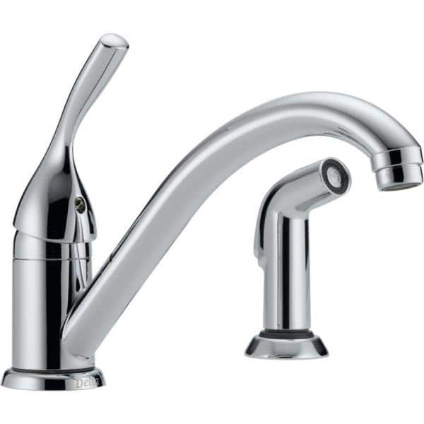 Delta Classic Single Handle Standard Kitchen Faucet With Side Sprayer In Chrome 175 Dst The Home Depot
