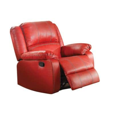 Red Leather Rocker Recliner Chair