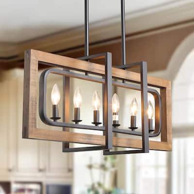 Farmhouse Chandelier, Modern Farmhouse Dining Room Light Fixture, Natural Wood Black Kitchen Island Lighting