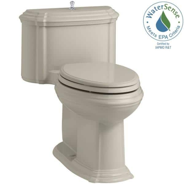 Kohler Portrait 1 Piece 1 28 Gpf Single Flush Elongated Toilet With Aquapiston Flush Technology In Sandbar Seat Included K 3826 G9 The Home Depot