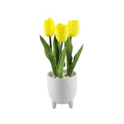 12.5 in. Real-Touch Yellow Artificial Tulips in 4.5 in. Lobster Ceramic Foorted Pot
