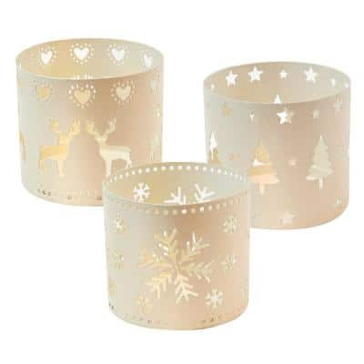 Holiday Candle Holders - White Metal with Cut-Out Designs (set of 3)