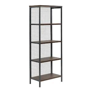 Market Commons Rich Walnut 5-Shelf Bookcase