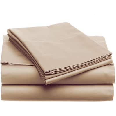 4-Piece Khaki Solid Bamboo Fiber Queen Sheet Set