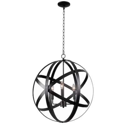 Global 3-Light Black Pendant