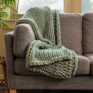 Sage Acrylic Chunky Knitted Throw