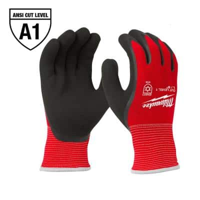 Small Red Latex Level 1 Cut Resistant Insulated Winter Dipped Work Gloves