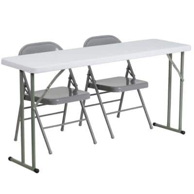 60 in. Gray Plastic Tabletop Metal Seat Folding Table and Chair Set