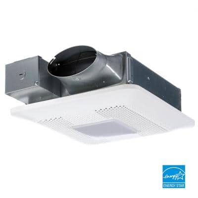 WhisperThin Pick-A-Flow 80 or 100 CFM Exhaust Fan with LED Light Low Profile Ceiling or Wall and 4 in. Oval Duct Adapter