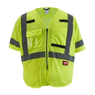 4X-Large/5X-Large Yellow Class 3 Mesh High Visibility Safety Vest with 9-Pockets and Sleeves