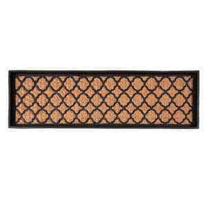 46.5 in. x 14 in. x 1.5 in. Natural & Recycled Rubber Boot Tray with Trellis Coir and Rubber Insert