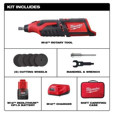 M12 12-Volt Lithium-Ion Cordless Rotary Tool Kit with One 1.5Ah Battery, Charger, Tool Bag