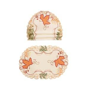 Xia Home Fashions 16 In Pumpkin Patch Embroidered Cutwork Linens Collection Round Doily 4 Set Xd149831600 The Home Depot