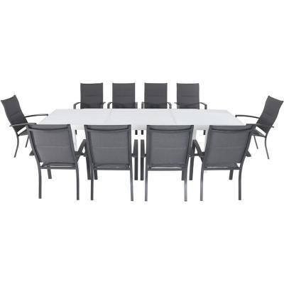 Del Mar 11-Piece Aluminum Outdoor Dining Set with 10 Padded Sling Chairs in Gray and a Expandable Dining Table