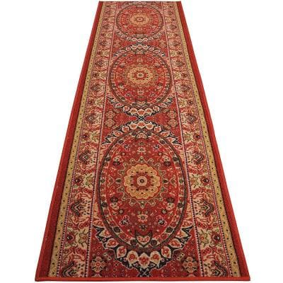 """Medallion Oriental Cut to Size Red Color 26"""" Width x Your Choice Length Custom Size Slip Resistant Rubber Runner Rug"""