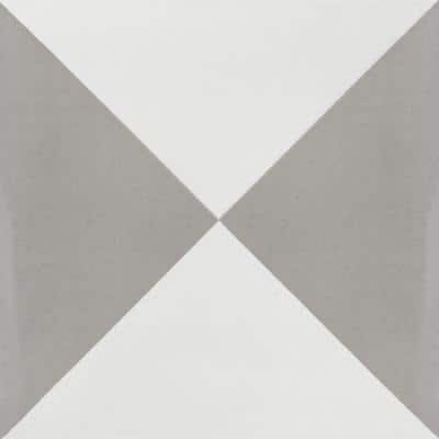 Tugboat Featherstone and White 8 in. x 8 in. Cement Handmade Floor and Wall Tile (Box of 16/ 6.96 sq. ft.)