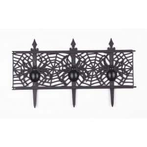 12 in. Plastic Decorative Halloween Spider Garden Fence (Set of 8)