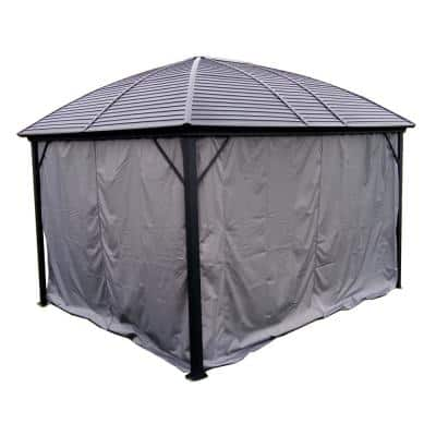 12 ft. x 10 ft. Gray UV-Protective Polyester Curtain Panels for Hardtop Round Roof Gazebo