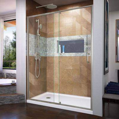 Flex 60 in. x 72 in. Semi-Frameless Pivot Shower Door in Brushed Nickel Finish with 60 in. x 32 in. Base in White