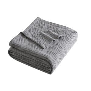 Waffle Grid 1-Piece Gray Solid Cotton Twin Blanket