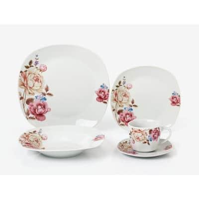 Porcelain 20-Piece Square Dinnerware Set Service for 4